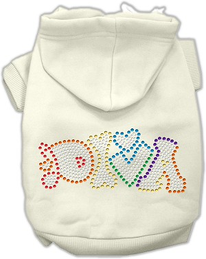 Technicolor Diva Rhinestone Pet Hoodie Cream XXL (18)